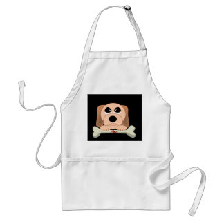 Serious Dog with A Bone That Says Mine Aprons