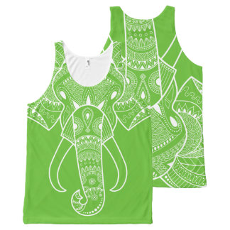 Serious Elephant Green -  All-Over Printed All-Over-Print Tank Top
