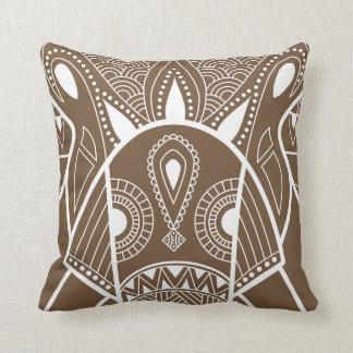 Serious Elephant One Brown Throw Pillow