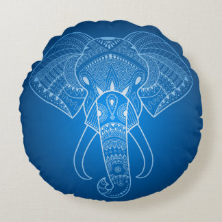 Serious Elephant Two Blue edition Round Pillow