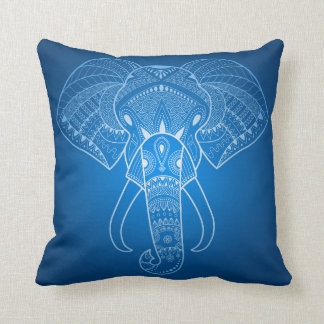 Serious Elephant Two - Blue edition Throw Pillow