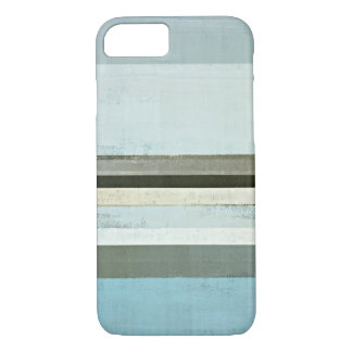 'Serious' Grey and Blue Abstract Art iPhone Case