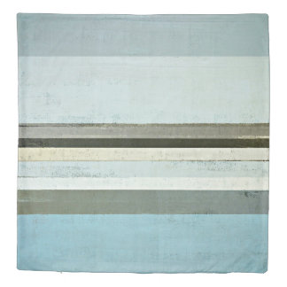 'Serious' Grey and Blue Abstract Artwork Duvet Cover