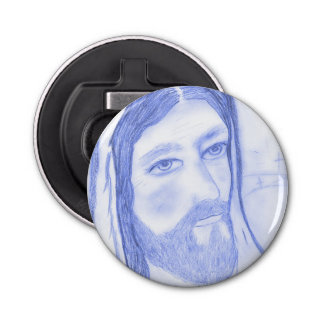 Serious Jesus Button Bottle Opener