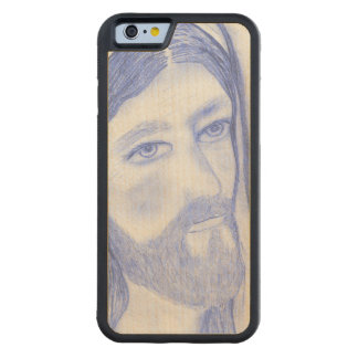 Serious Jesus Carved Maple iPhone 6 Bumper Case