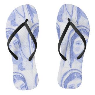 Serious Jesus Flip Flops