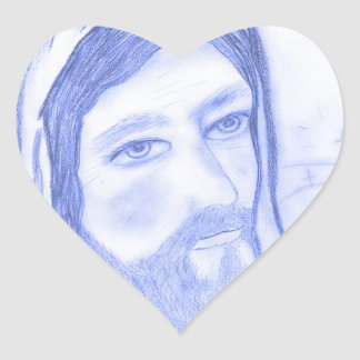 Serious Jesus Heart Sticker