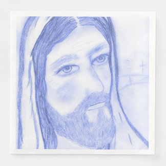 Serious Jesus Paper Dinner Napkin