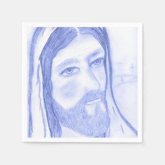 Serious Jesus Paper Napkin