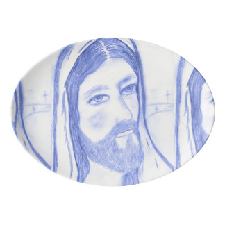 Serious Jesus Porcelain Serving Platter