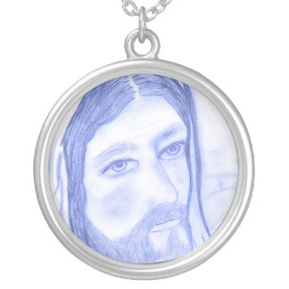 Serious Jesus Silver Plated Necklace