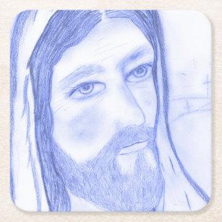 Serious Jesus Square Paper Coaster
