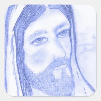 Serious Jesus Square Sticker