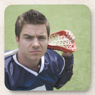 Serious lacrosse player beverage coasters