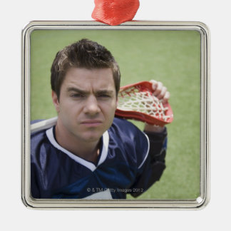 Serious lacrosse player Silver-Colored square ornament