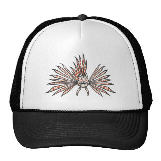 Serious Lion Fish in Black and White Trucker Hat