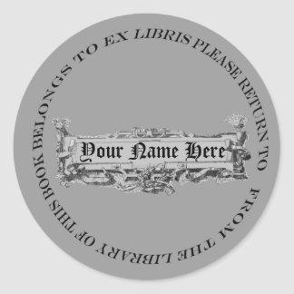 Serious Looking but Slightly Silly Bookplate Classic Round Sticker