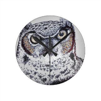 Serious Owl Wall Clock