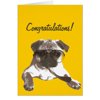 Serious Pug Congratulations Greeting Card