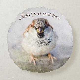 Serious Sparrow Round Pillow
