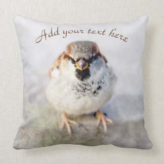 Serious Sparrow Throw Pillow
