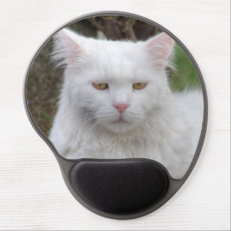 Serious White Cat Gel Mouse Pad