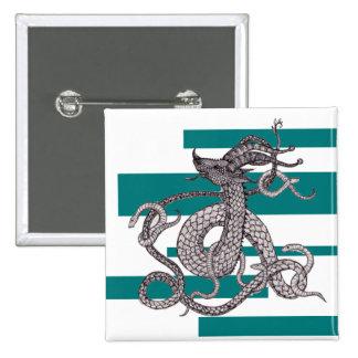 Serpent Green Dragon 2 Inch Square Button