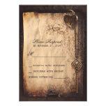 Serrure de coeur et cartes les épousant vintages d invitation personnalisée