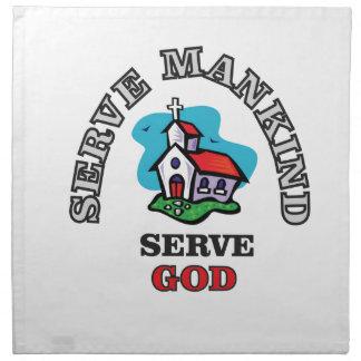 serve god church napkin