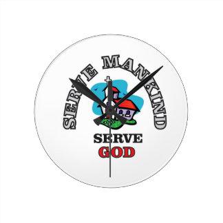serve god church wall clock