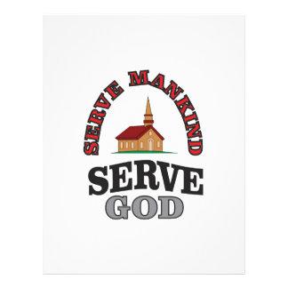 serve god serve mankind art letterhead design