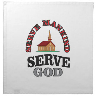 serve god serve mankind art napkin