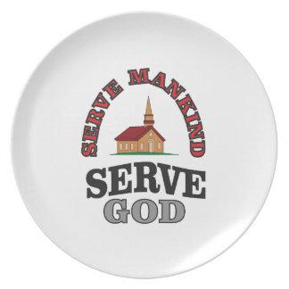 serve god serve mankind art plate