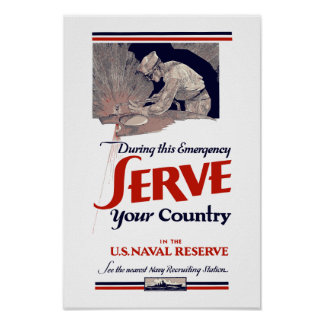 Serve Your Country In The Naval Reserve -- WW2 Poster