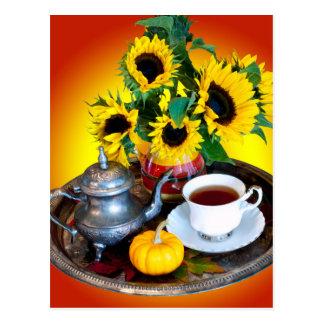 Service de thé d'automne cartes postales