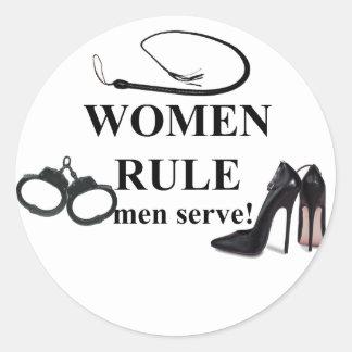SERVICE D'HOMMES DE RÈGLE DE FEMMES ADHÉSIFS RONDS