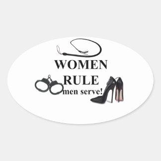 SERVICE D'HOMMES DE RÈGLE DE FEMMES AUTOCOLLANTS OVALES