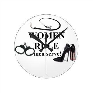 SERVICE D'HOMMES DE RÈGLE DE FEMMES HORLOGE RONDE