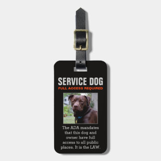 Service Dog - Black - Full Access Required Badge Luggage Tag