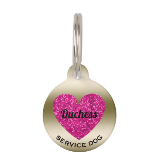 Service Dog Cute Pink Heart | Pet ID Phone Number Pet ID Tag
