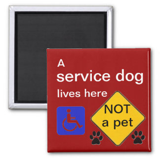 Service dog lives here disabled symbol square magnet