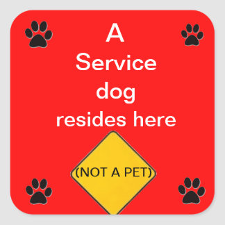 Service dog lives here red sticker