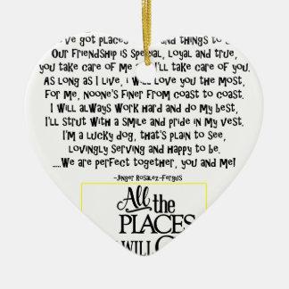 Service dog poem FNL BACK yellow Ceramic Heart Ornament