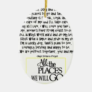 Service dog poem FNL BACK yellow Ceramic Ornament