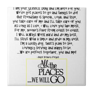 Service dog poem FNL BACK yellow Tile