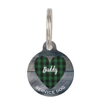 Service Dog Rustic Wood Heart Pet ID Phone Number Pet Name Tag