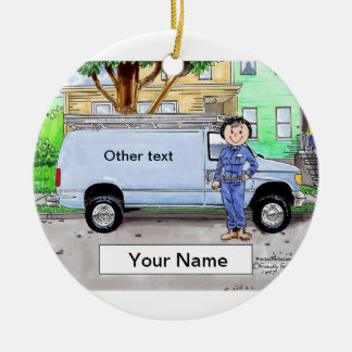 Service Van, Blue - Female Ceramic Ornament