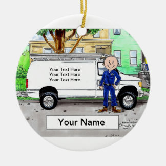 Service  Van, White - Male Ceramic Ornament