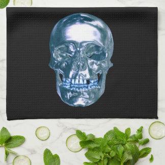Serviette de cuisine bleue de crâne de chrome serviette éponge