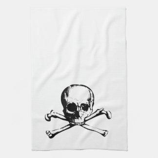 Serviette de cuisine d os de crâne et de croix serviette éponge